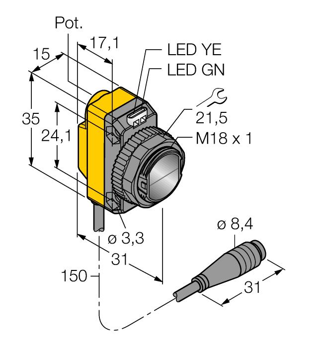 Einweglichtschranke (Empfänger) QS18VP6RQ