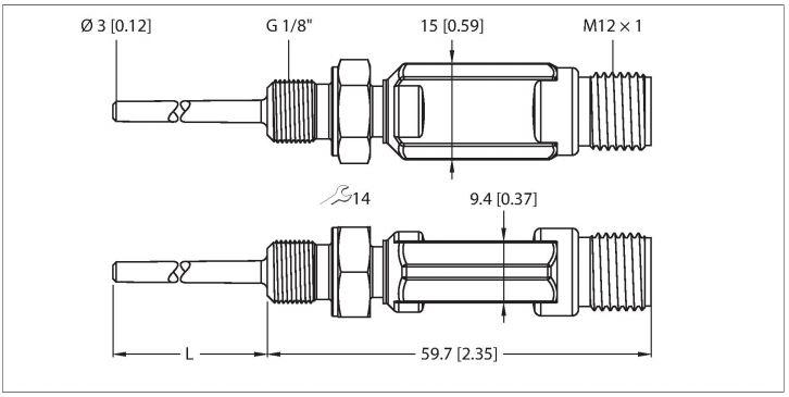 Temperaturfühler mit Stromausgang und einem Transistorschaltausgang pnp/npn TTM-103A-G1/8-LIUPN-H1140-L013
